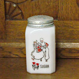 Vintage Milk Glass Sugar Shaker with Red and Black Dancing Dutch Couple Rare Design - Attic and Barn Treasures
