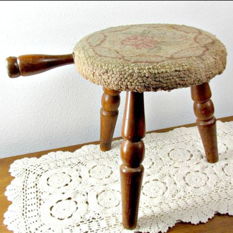Milking Stool with Hooked Cover Vintage - Attic and Barn Treasures