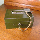 Vintage Army Green ASCO Metal Lock Box WITH Key - Attic and Barn Treasures