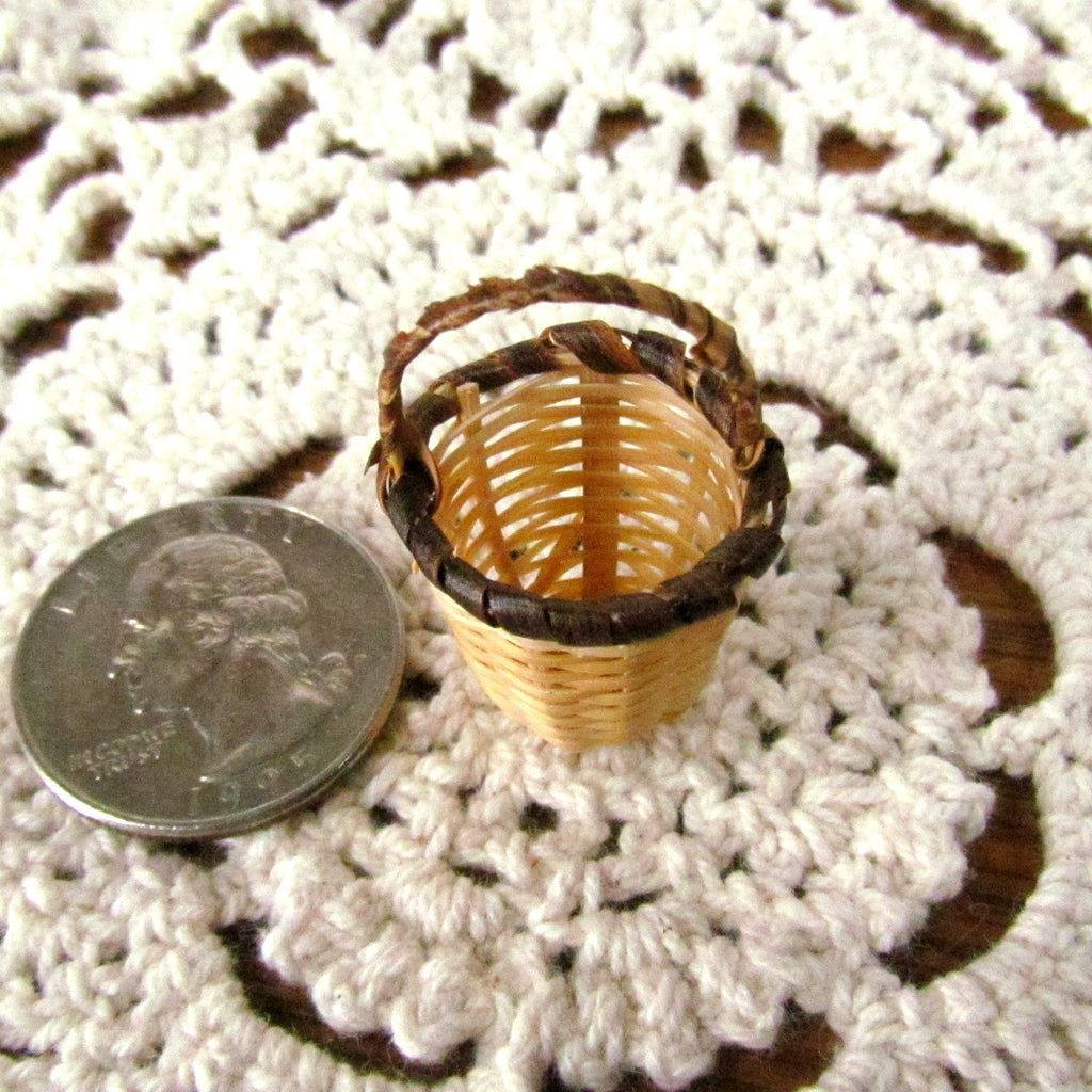 Miniature Woven Vintage Basket with Handle - Attic and Barn Treasures