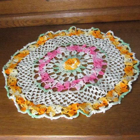 Vintage Pink, Ecru and Yellow Doily with Variegated Green Accent - Attic and Barn Treasures
