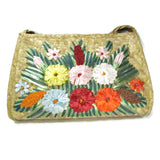 Vintage Woven Natural Fiber Purse with Raffia Flowers - Attic and Barn Treasures
