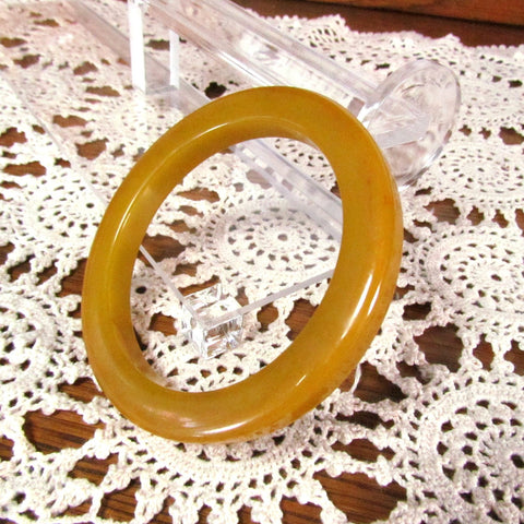 Vintage Dark Yellow Gold Bakelite Bangle Bracelet - Attic and Barn Treasures