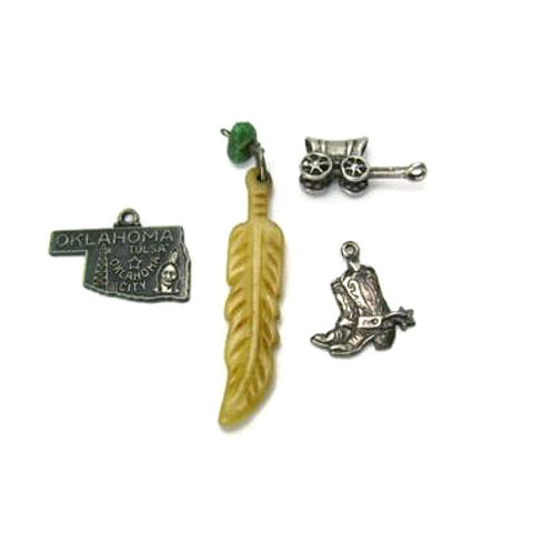 Vintage Silver Oklahoma Southwest Charm Set Cowboy Wagon Turquoise Carved Feather - Attic and Barn Treasures