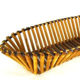 Vintage Oval Bamboo Square Slat Bread Basket - Attic and Barn Treasures