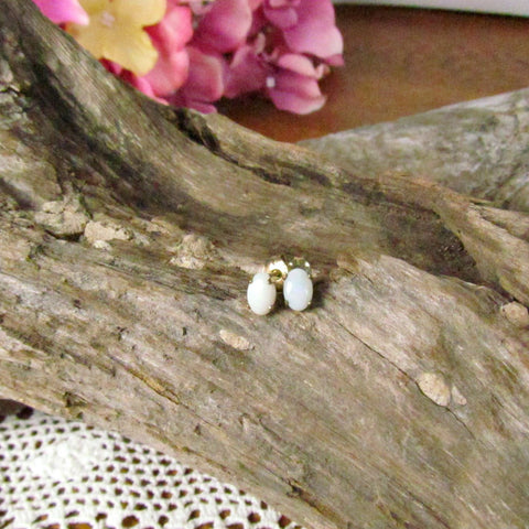 Vintage Oval Opal Stud Earrings Gold Setting - Attic and Barn Treasures