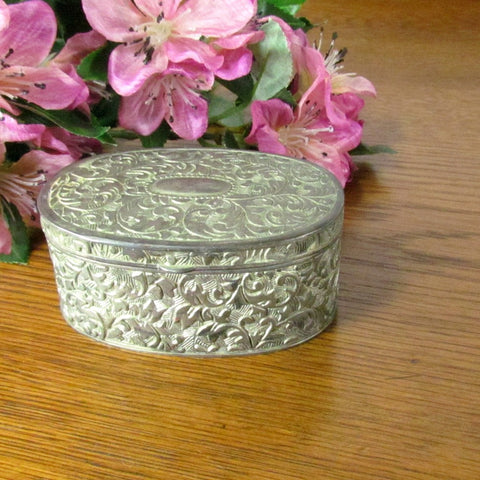 Vintage Oval Metal Ring Box