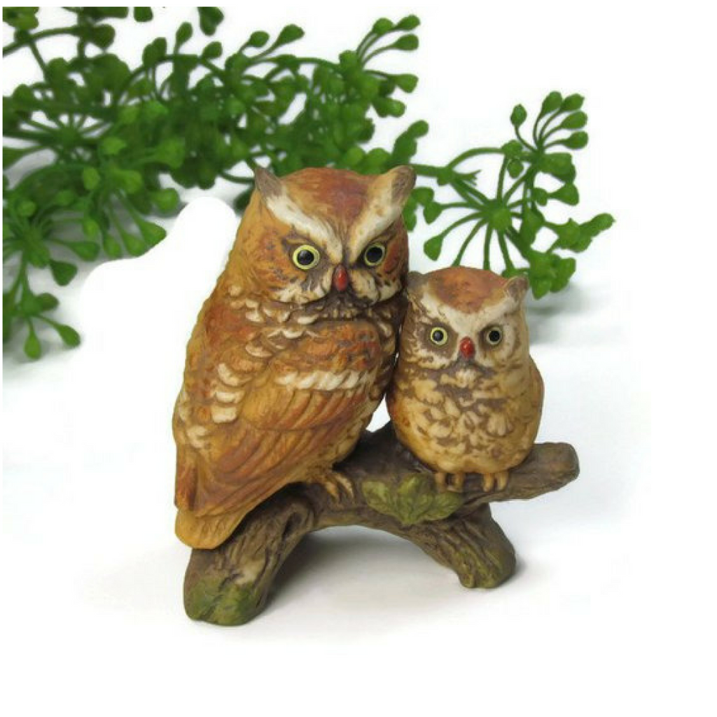 Vintage Porcelain Owl and Owlet on Branch Figurine by Napcoware