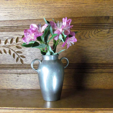 Vintage Double Handle Pewter Vase Weidlich Brothers Mayflower c. 1901-1950 - Attic and Barn Treasures