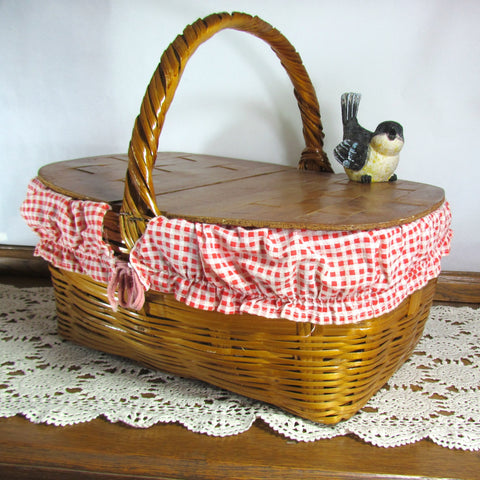 Vintage Picnic Basket with Red Gingham Liner