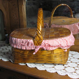 Vintage Picnic Basket with Red Gingham Liner - Attic and Barn Treasures