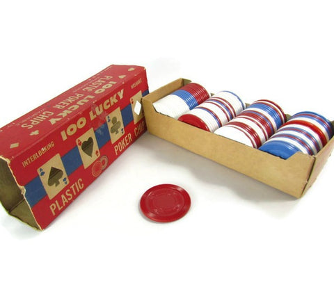100 Vintage Plastic Poker Chips Original Package Red White Blue - Attic and Barn Treasures