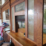 1932 Vintage Post Office Counter with Transaction Windows - Attic and Barn Treasures