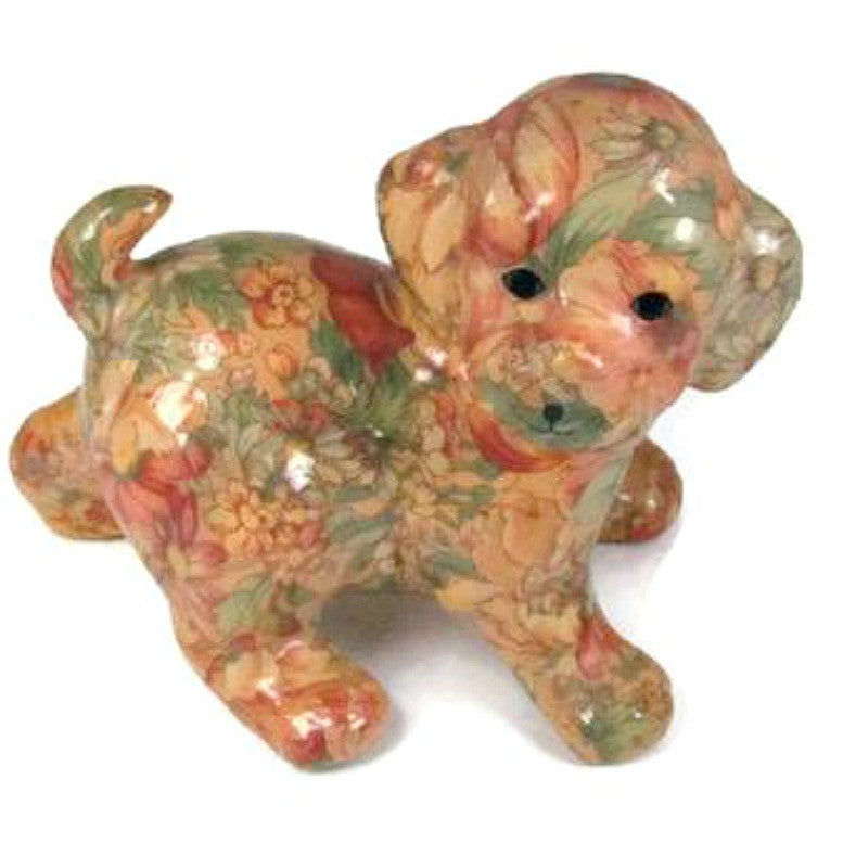 Decoupage Puppy Dog Vintage Figurine Statue - Attic and Barn Treasures