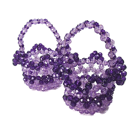 Vintage Handmade Purple Bead Baskets