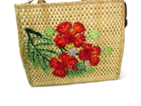 Vintage Woven Natural Fiber Purse with Tropical Raffia Flowers