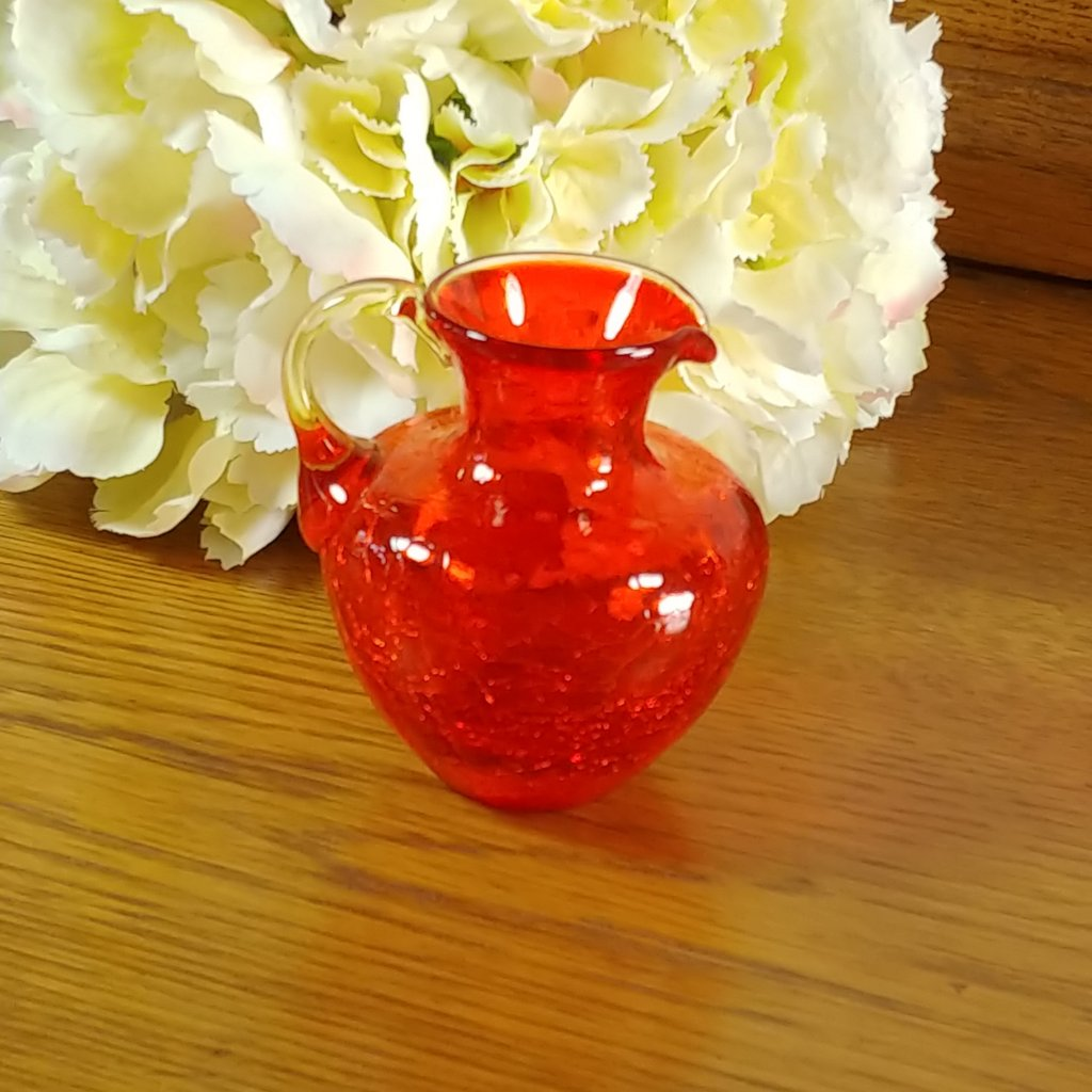 Vintage Miniature Red Crackle Glass Pitcher by Pilgrim Glass - Attic and Barn Treasures