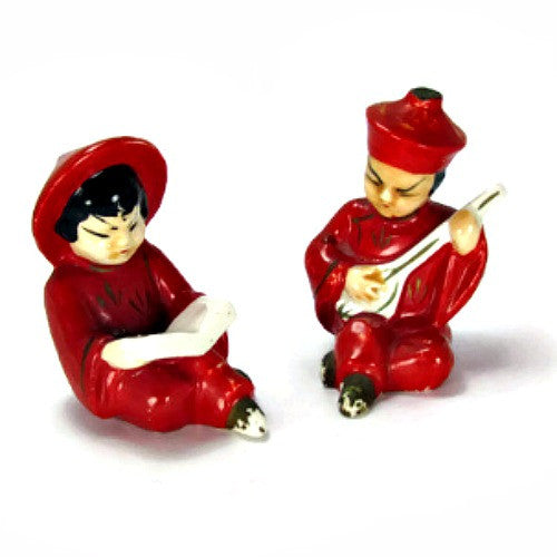 Vintage Red Robed Chinese Boy and Girl Salt and Pepper Shakers - Attic and Barn Treasures