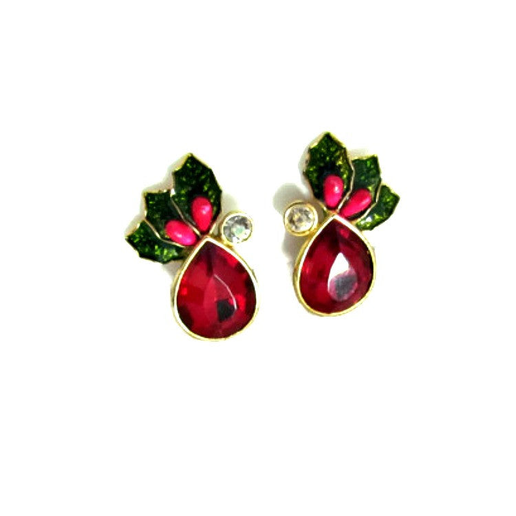 Holly Accent Vintage Christmas Earrings - Attic and Barn Treasures
