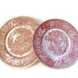Vintage Red Woodland Design Transferware Plates - Attic and Barn Treasures