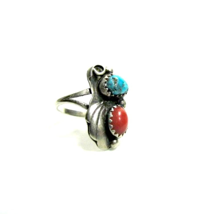 Turquoise and Coral Ring Marked W Sterling Vintage - Attic and Barn Treasures