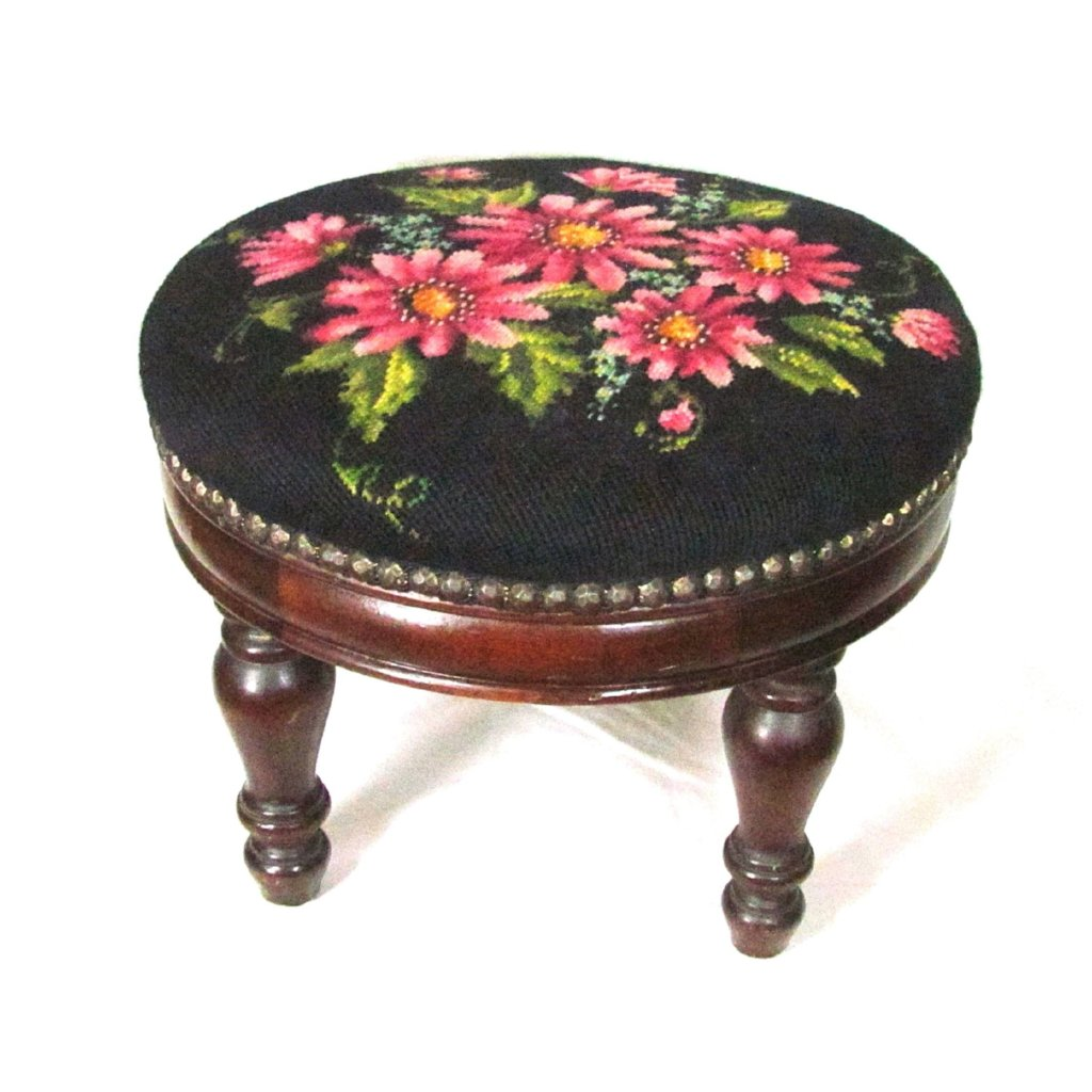 Vintage Floral Needlepoint Top Round Wood Stool - Attic and Barn Treasures