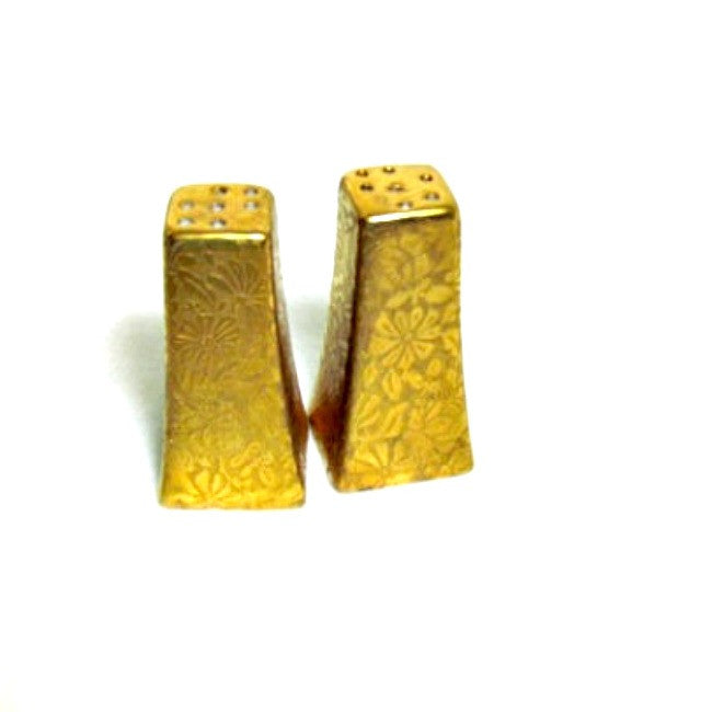 Vintage Gold Gilt and Porcelain Salt and Pepper Shakers Czechoslovakia - Attic and Barn Treasures