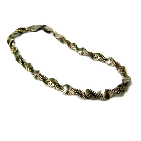 Rare and Unusual Vintage Silver Herringbone and Box Double Chain Bracelet - Attic and Barn Treasures