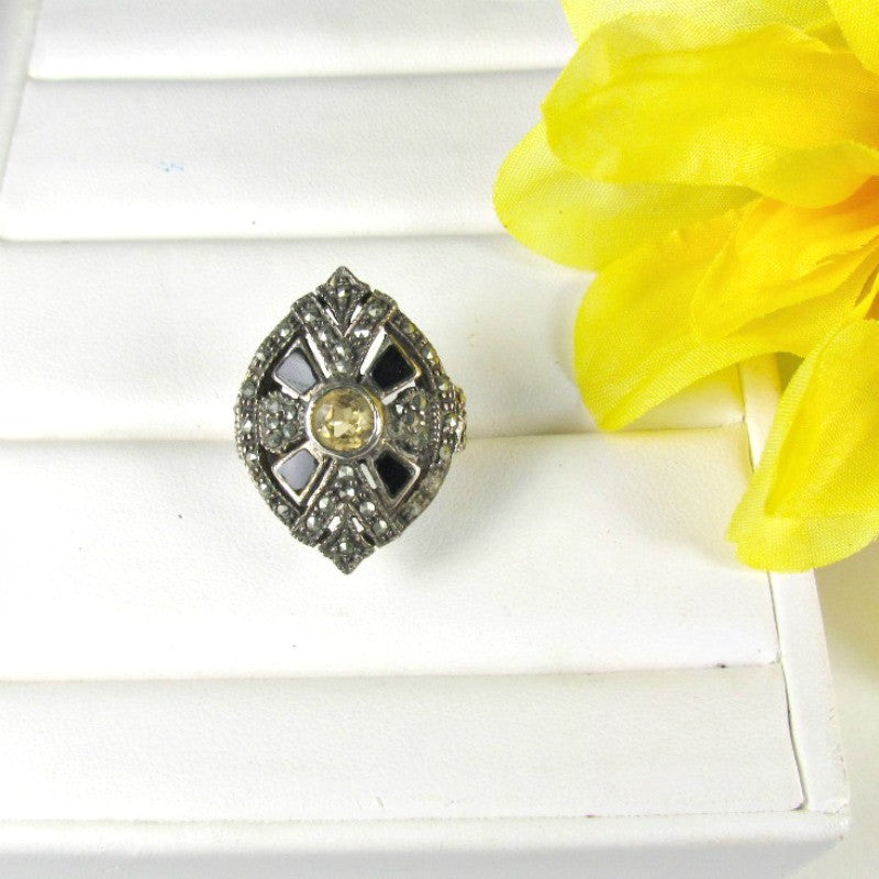 Sterling Silver Citrine Onyx and Marcasite Ring Vintage Size 6 - Attic and Barn Treasures