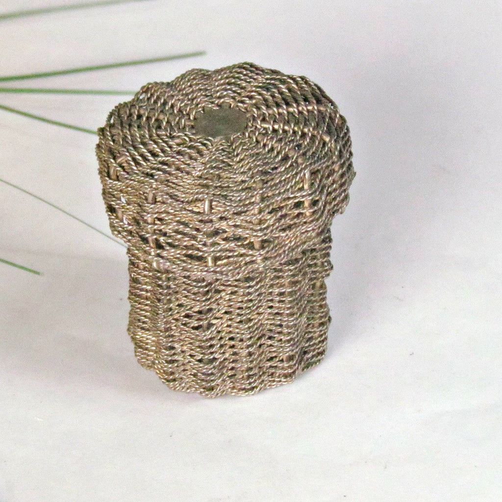 Vintage Miniature Woven Metal Basket with Lid Silver over Copper - Attic and Barn Treasures