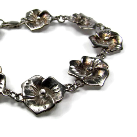 Vintage 925 Silver Floral Pansy Link Bracelet - Attic and Barn Treasures