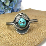 Vintage Sterling Silver and Turquoise Cuff Bracelet Native American Handmade - Attic and Barn Treasures