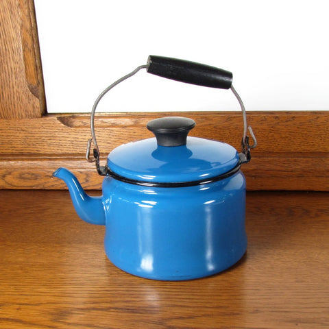 Vintage Blue and Black Enamel Tea Pot - Attic and Barn Treasures