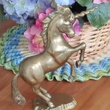 Vintage Solid Brass Prancing Unicorn - Attic and Barn Treasures