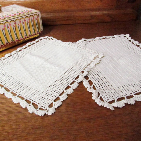 Vintage Square Crochet Doily Pair Ecru Color