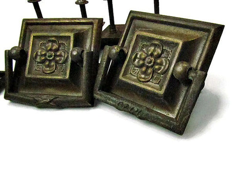 5 Rare Antique Pressed Metal Square Ring Drawer Pulls - Attic and Barn Treasures