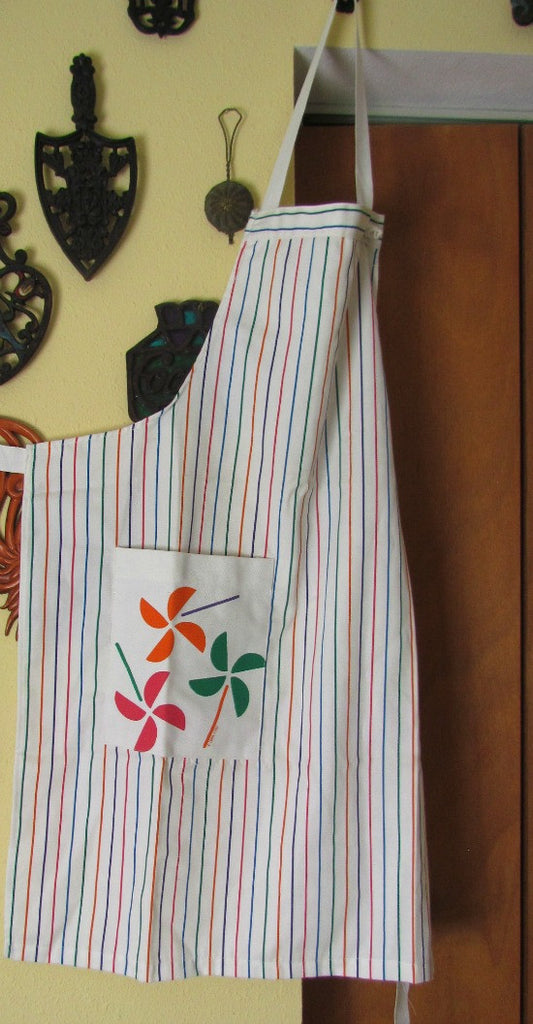 Bib Style Vintage Apron in Multi-Color Stripes with Pocket - Attic and Barn Treasures