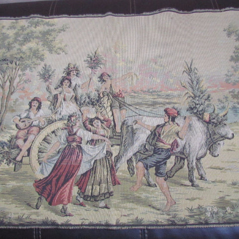 Vintage Hand Woven Tapestry French Peasants Celebrating - Attic and Barn Treasures