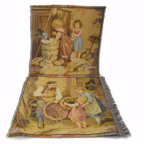 Vintage French Tapestry Panels or Pillow Tops With Children and Kittens - Attic and Barn Treasures