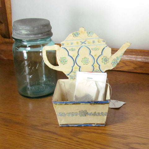 Vintage Hand Painted Metal Tin Tea Bag Holder RARE - Attic and Barn Treasures