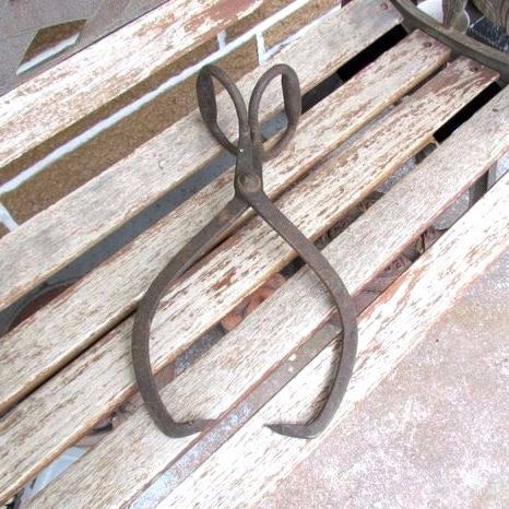 Vintage Cast Iron Block Ice Tongs Rustic Display Halloween Prop - Attic and Barn Treasures