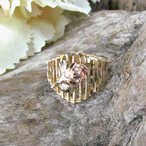 Vintage Tri Color 14k Gold Ladies Ring Filigree with Rose Flower C. 1980s - Attic and Barn Treasures