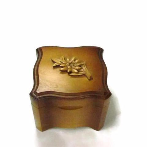 Vintage Swiss Made Wood Music Box with Edelweiss Flower