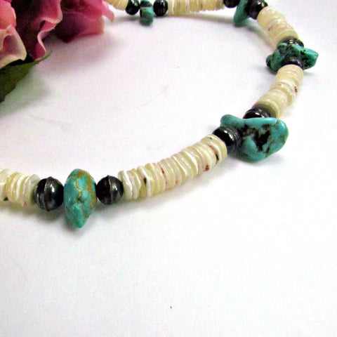 Vintage Authentic Puka Shell and Turquoise Choker Necklace - Attic and Barn Treasures
