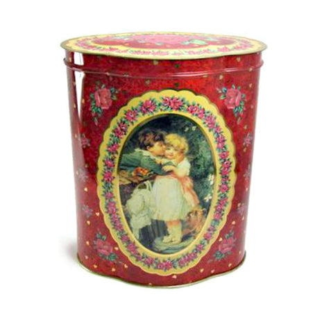 Large Vintage Valentine Tin With Roses Children and Hearts