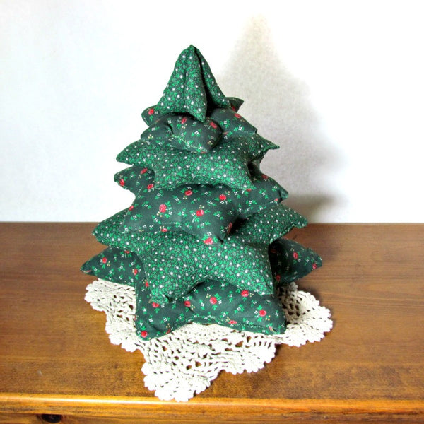 Vintage Handmade Fabric Tabletop Christmas Tree Attic
