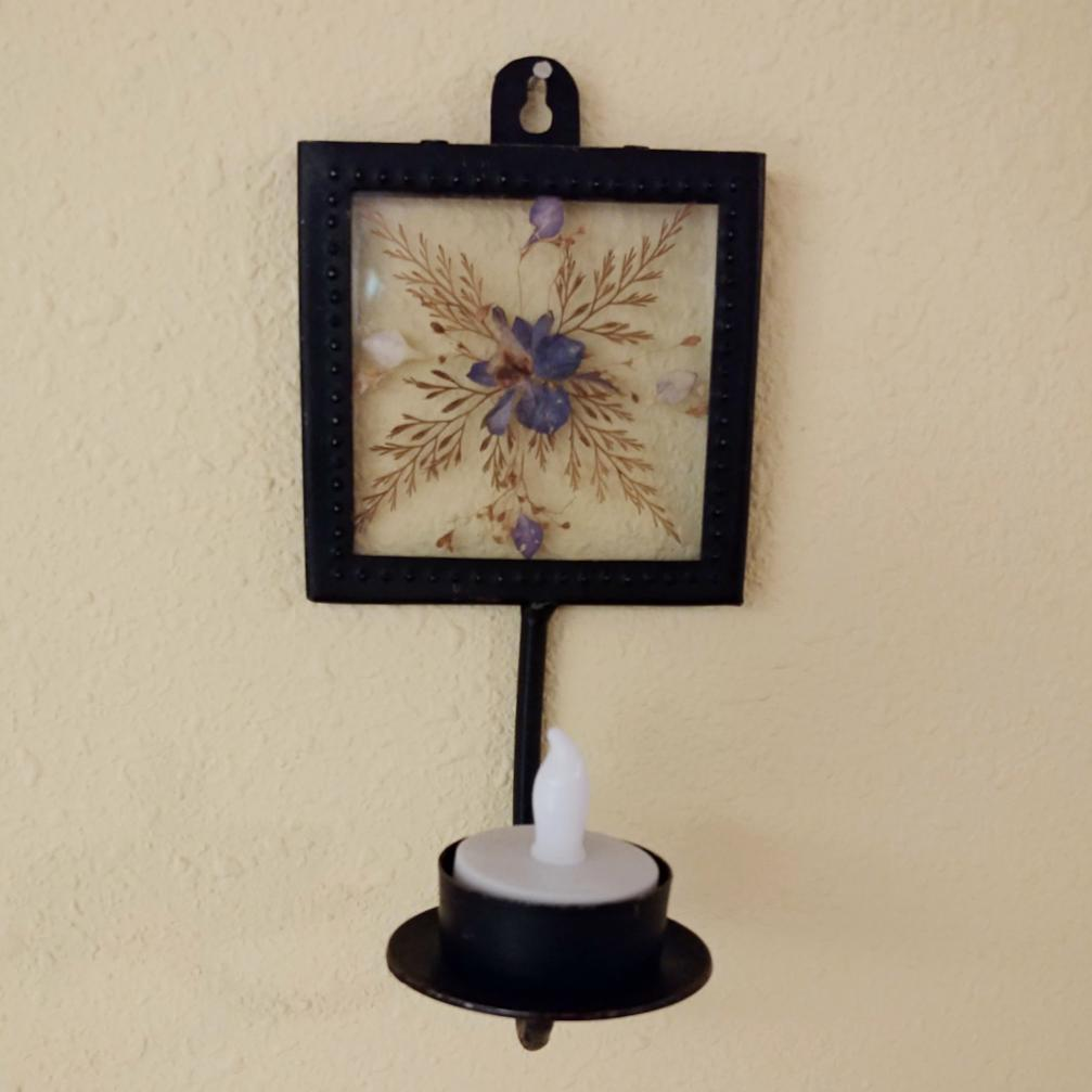 Vintage Wall Mount Metal Votive Sconce with Pressed Flowers - Attic and Barn Treasures