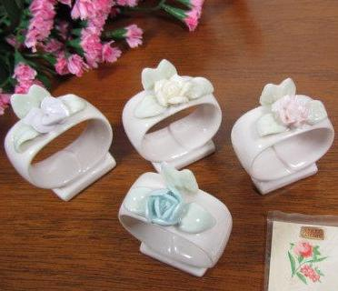 Vintage China Napkin Ring Place Card Holders for Wedding - Attic and Barn Treasures