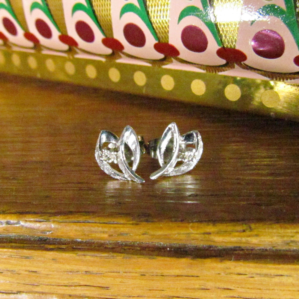 Vintage 14K White Gold and Diamond Earrings - Attic and Barn Treasures