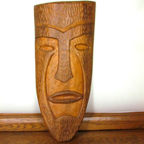 Vintage OOAK Hand Carved Wood Tiki Mask Folk Art c. 1930s - 1950s - Attic and Barn Treasures